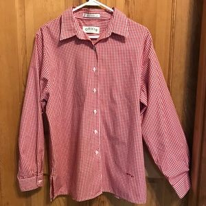 Orvis red gingham button down shirt